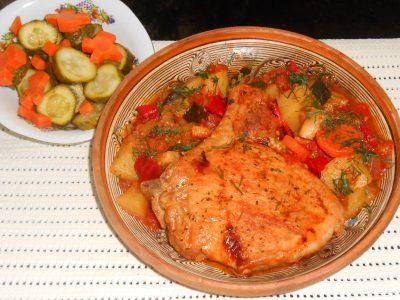 Cotlet de porc cu legume la cuptor