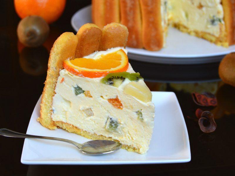 Tort diplomat cu piscoturi, portocale si kiwi